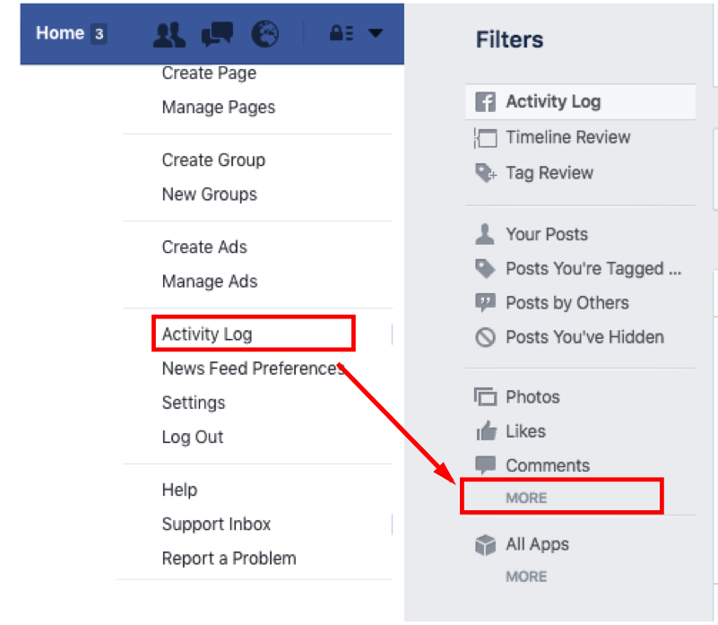 How to find your Facebook search history
