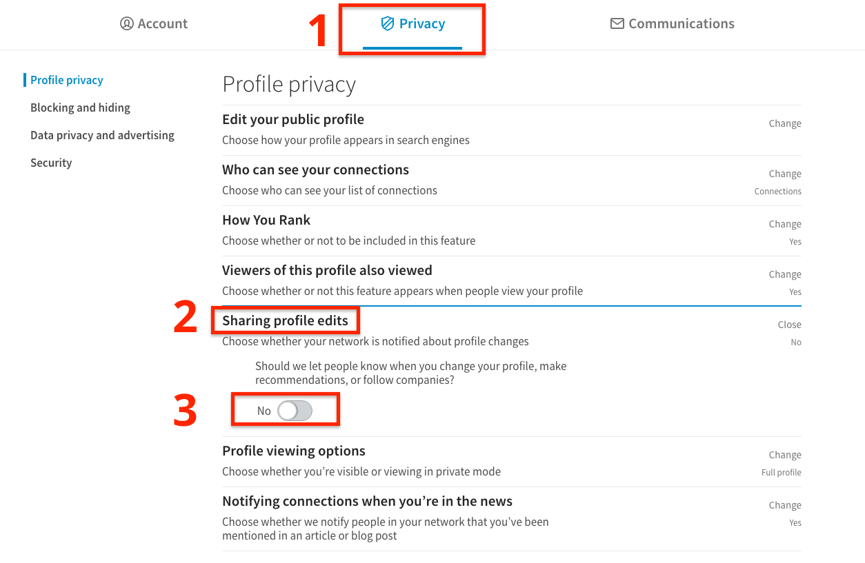 make linkedin profile edits private